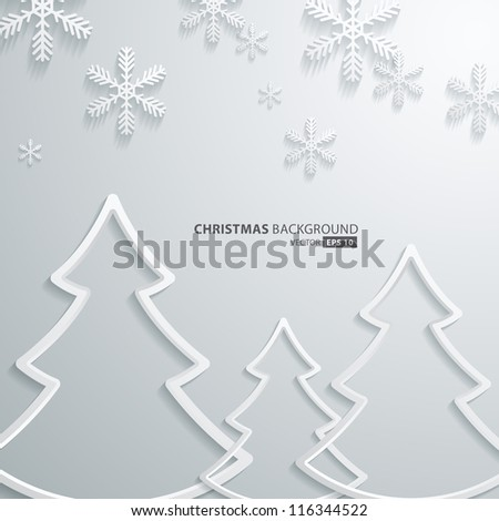 Abstract 3D Snowflakes and christmas tree Design - stock vector