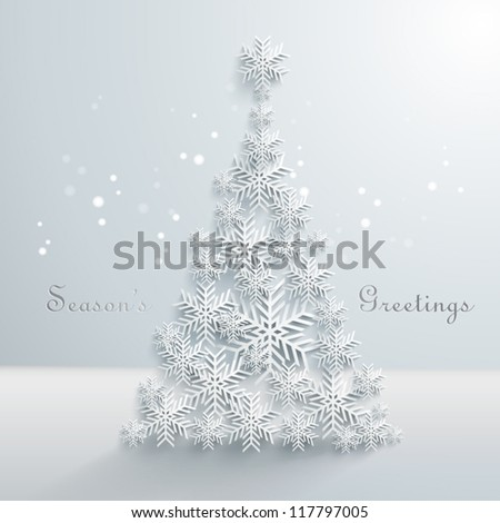 Abstract 3D Snowflakes Christmas Tree