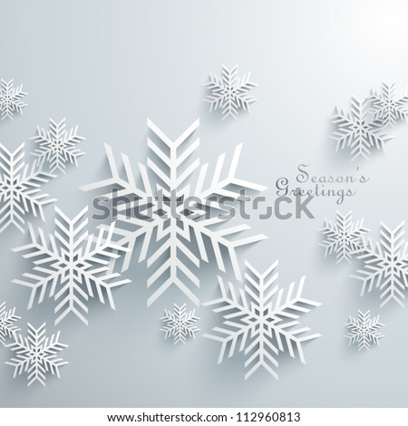 Abstract 3D Snowflakes Design - stock vector