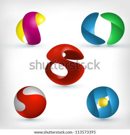 Abstract 3d sphere logos carving set. Logo spheres. S letter logo
