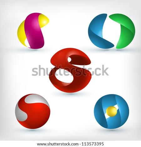 Abstract 3d sphere logos carving set. Logo spheres. S letter logo