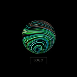 Abstract 3D sphere textured with swirled colorful lines.. Vector creative illustration of curled stripes shape. Marble or acrylic texture imitation. Logo design. Planet or outer space object sign