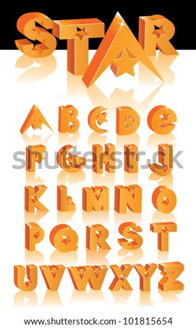 Abstract 3D Star Alphabet Letter A B C X Y Z Z Cube Symbol Icon Collection EPS 8 vector grouped for easy editing.