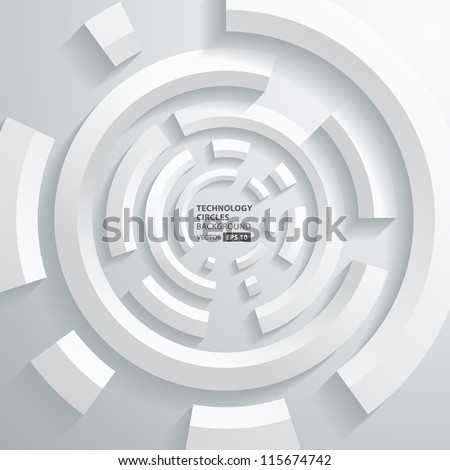 Abstract 3d technology circles vector background