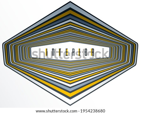 Foto mural Abstract 3D trendy modern lines in perspective vector background, dimensional design cool element, funky style layout for ads posters banners and covers, perfect abstraction.