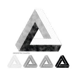Abstract 3D Triangles. Vector geometric design element, new amazing hipster background. Modern pointillism. Template for poster, business presentation