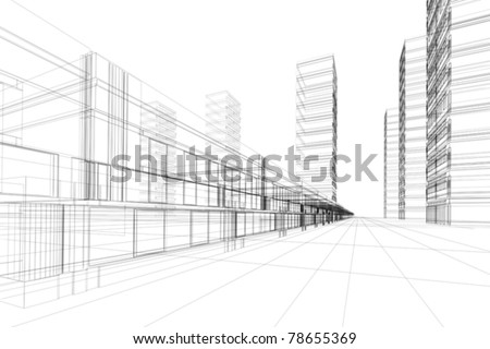 abstract 3d vector construction