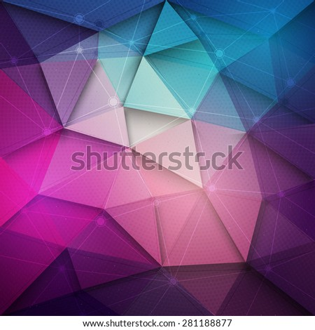 Abstract 3d vector technology background with wireframe structure. Vector digital background for web, applications, business. Abstract vector wallpaper. Party abstract vector background