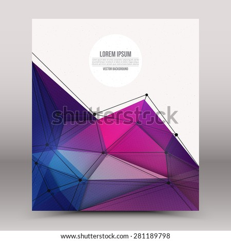 Abstract 3d vector technology colorful shape with wireframe structure background. Digital business abstract vector background. Flayer, brochure, card vector design. Science abstract vector background