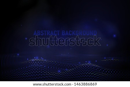 abstract 3d wave points grid. Big data visualization. Futuristic science and technology background. Visual information complexity. Sound visualization