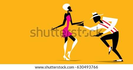 abstract dancers  vector art