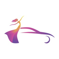 abstract dancing lady and car, vector logo icon