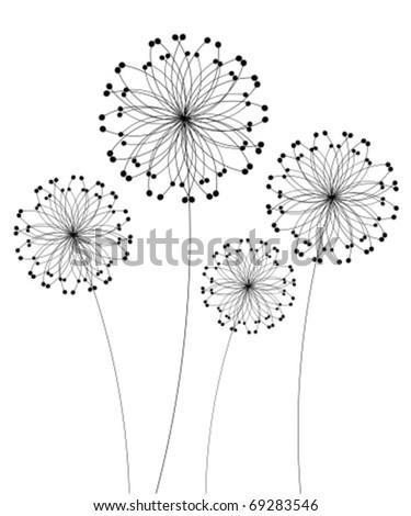 Abstract dandelion flowers over white. Vector illustration