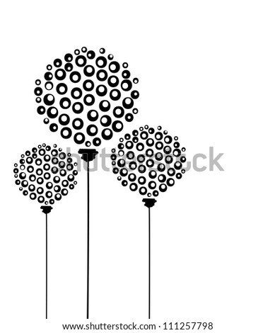 Abstract dandelion flowers, postcard for your design