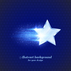 Abstract dark background with glowing metal star