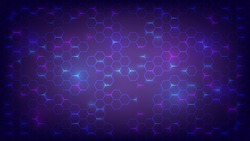 Abstract dark background with purple luminous hexagons, technology, neon