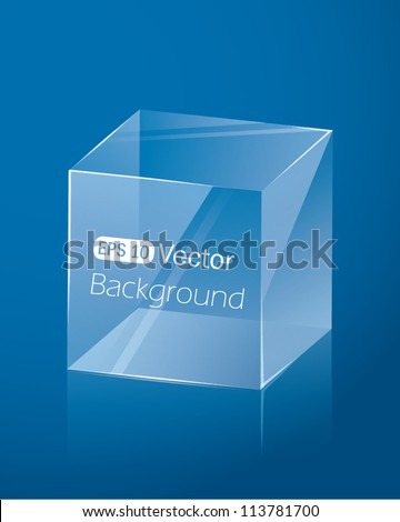 Abstract dark blue background with glass cube. Vector illustration