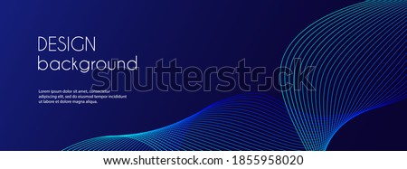 Abstract dark blue banner template. Vector minimal wavy line background with text for social media cover, header