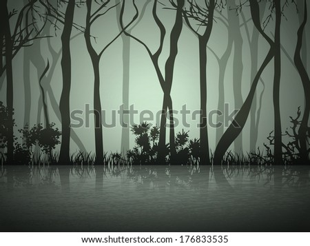 abstract dark fog forest near