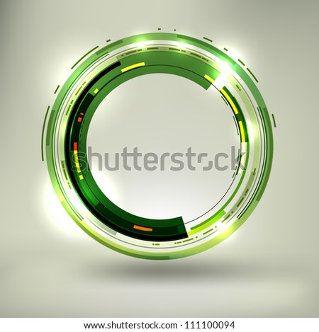 Abstract dark green lightened rounds, forming a cool placeholder with flashes and light effects. EPS10 vector.