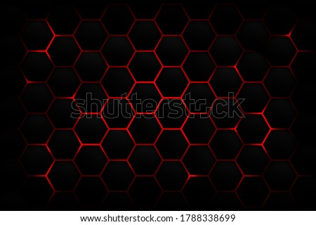 Abstract dark hexagon pattern on red neon background technology style. Modern futuristic honeycomb concept. You can use for cover template, poster, banner web, flyer, print ad. Vector illustration