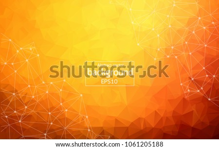 Abstract dark Orange Geometric Polygonal background molecule and communication. Connected lines with dots. Concept of the science, chemistry, biology, medicine, technology.