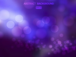 Abstract dark purple background with bokeh circles. Christmas card. Vector EPS 10 illustration.