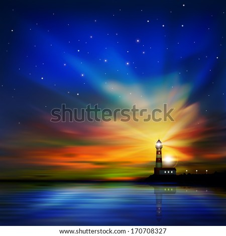 abstract dark sea background with lighthouse and sunset
