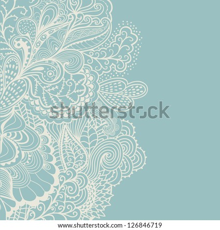 Abstract decoration, invitation card with ornate detailed ornament. Template frame design for card in cold winter theme. Useful for packaging, invitations, decoration, bag template, etc