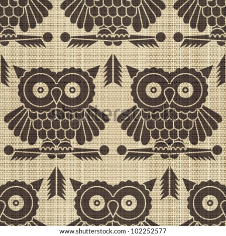 Abstract decorative canvas textured owls print background. Seamless pattern. Vector.