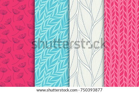 Abstract decorative doodle nature seamless patterns set. Hand drawn linear and silhouette flowers, branches, leaves textures. Simple universal background. Vintage feminine colors. Vector illustration