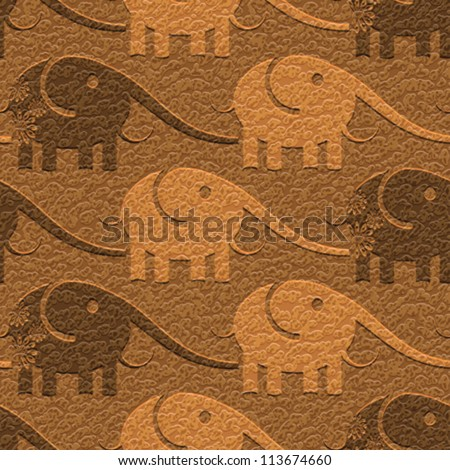 Abstract decorative elephants carving on textured leather background. Seamless pattern. Vector.