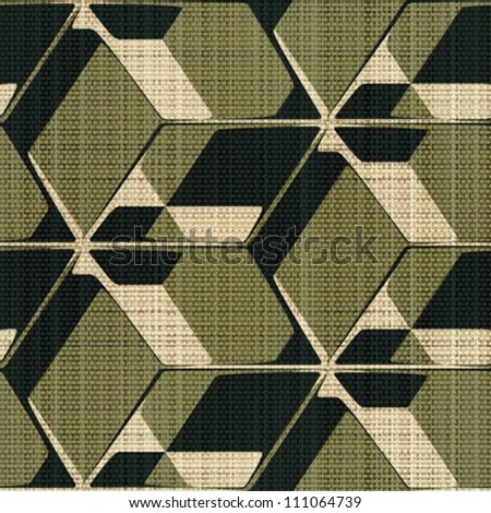 Abstract decorative geometric construction printed on textured linen canvas background. Seamless pattern. Vector.
