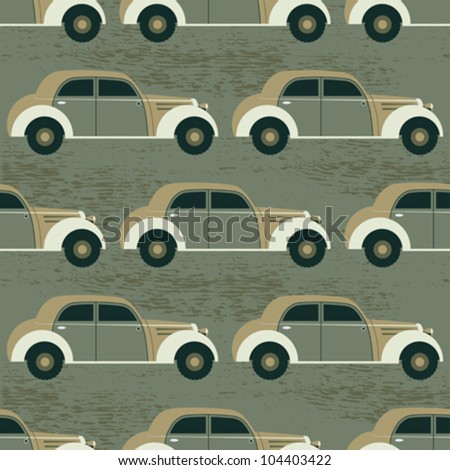 Abstract decorative retro cars traffic background. Seamless pattern. Vector.