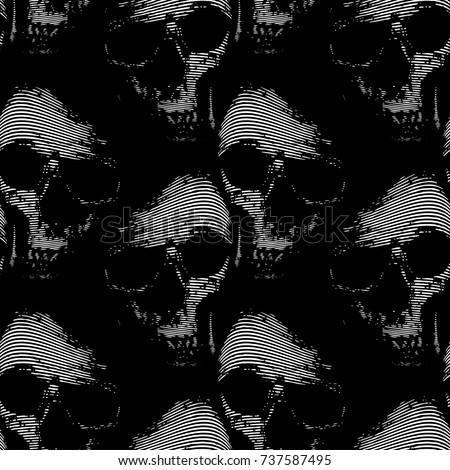 Abstract decorative seamless background. Horror. Smiling sculls. Grunge texture.Death. Contrast theme. Vector seamless pattern. Oriental motif.  Print template. Creative ornament design.