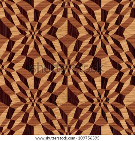 Abstract decorative wooden textured geometric mosaic background. Seamless pattern. Vector.