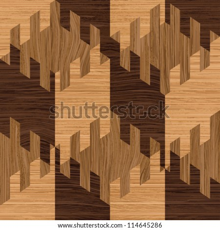 Abstract decorative wooden textured parquet mosaic background. Seamless pattern. Vector.