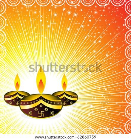 abstract deepawali background in orange vector illustration Stock photo ©