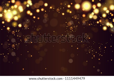 Abstract defocused circular golden luxury gold glitter bokeh lights background. Magic background. EPS 10. Holiday background. Golden explosion of confetti. Golden Christmas grainy abstract texture.