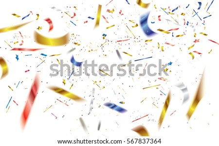 Abstract defocused colorful confetti isolated on white background.Vector illustration.