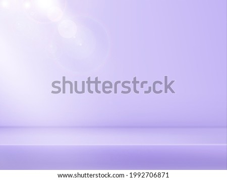 Abstract delicate lilac platform, gradient background with beams of spotlights and bokeh light.