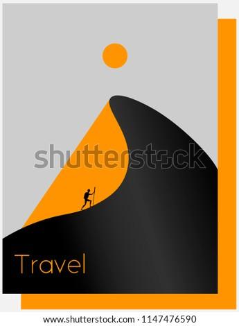 abstract desert, mountain, sun, traveler, tourism minimalist logo