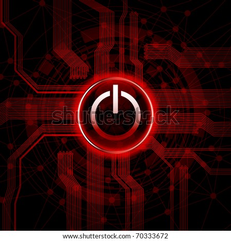 Abstract design background with power switch button. Eps10 vector