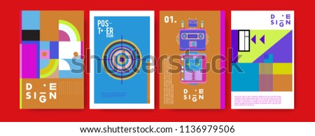 abstract, design, collage, background, banner, poster, presentation, print, retro, set, shape, style, template, texture, toys, triangle, vector, annual, art, backdrop,  robot, book, booklet, brochure,