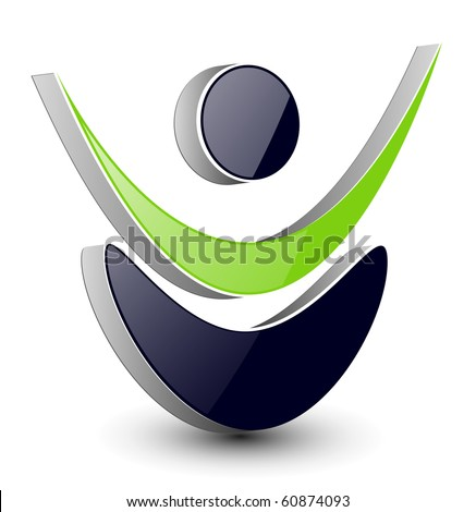 Abstract design, dynamic human shape, vector.