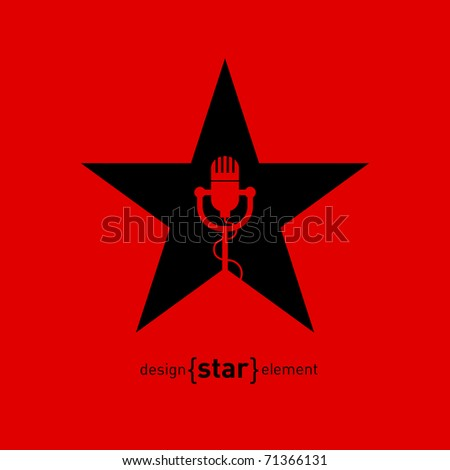 Abstract design element star with microphone. Corporate logo template