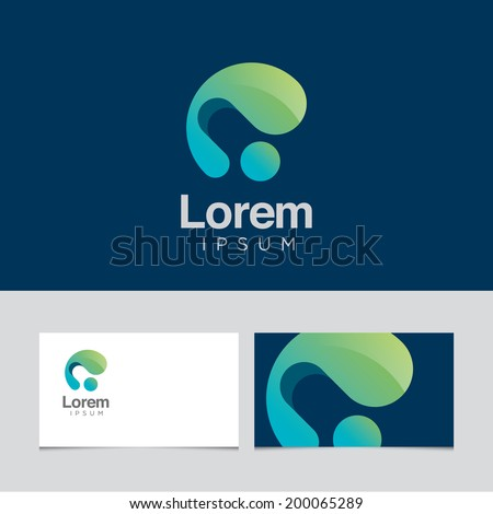 Abstract design element with business card template 02