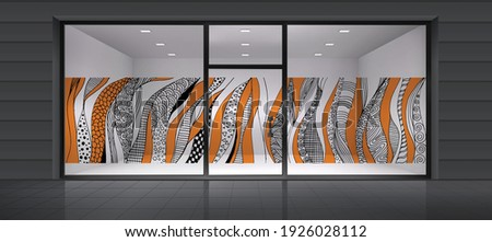 Abstract design for glass and wall graphics. Glass graphics design for Office, Train station, Supermarket, Store, Shop, Mall, Boutique, Home glass partition. ストックフォト ©