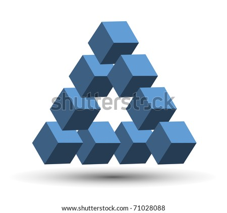 Abstract design, impossible object. Vector illustration.