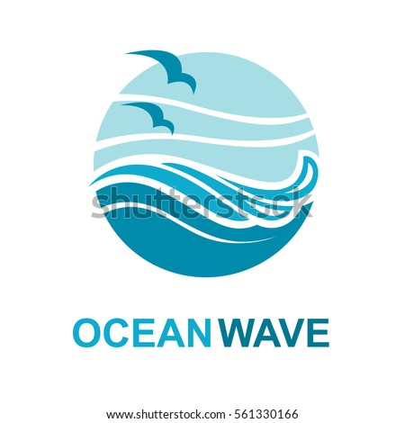 Abstract design of ocean logo with waves and seagulls. Vector illustration